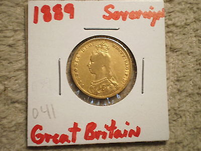 1889 Queen Sovereign Great Britain/ 917 Gold .2354 Agw