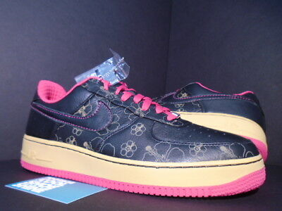 7a139f6ea107 2007 Nike Air FORCE 1 PREMIUM  07 BLACK CERISE PINK GOLD FLORAL 315180-001