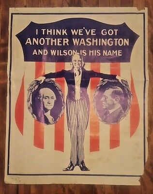 Original 1912 Woodrow Wilson Campaign Political Presidential Poster WASHINGTON