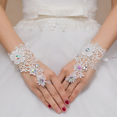 Fingerless Hollow Out #L Rhinestone Lace Short Gloves Wedding Bridal Accessory
