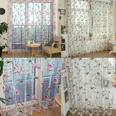 Modern Floral Window Door Curtains Tulle Voile Drape Panel Sheer Scarf Valances