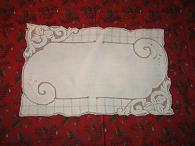Stunning Antique Vintage Hand Made Ivory Italian Linen Lace Placemats~7~