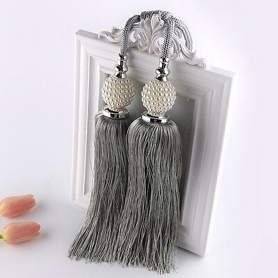 New Curtain Tiebacks Luxury Tassel Beaded Holdbacks Drapes Tie Back Decor 1 Pair