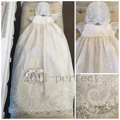 New Luxury Lovely Beading Infant Baptism Gowns Lace Applique Christening Dresses