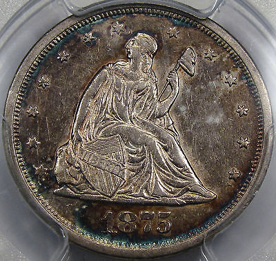 1875-S Seated Liberty Twenty Cent Piece PCGS AU-55... Very NICE! Beautiful Tone!