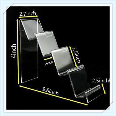 2 x 4-Tier Step Clear Acrylic Retail Display Stand Handbags Purse 10 or 18 cm H