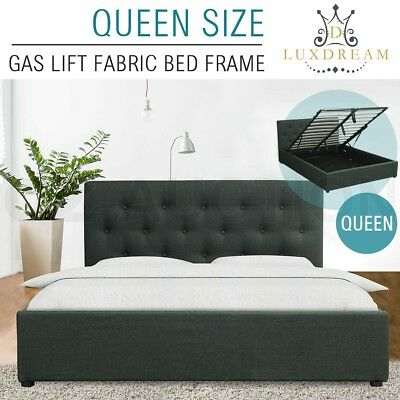 LUXDREAM Gas Lift Storage Queen Size Charcoal Linen Fabric Bed Frame Modern Home
