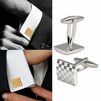 Mens Classical Shirt Suit Cufflinks Wedding Gift Silver Square Grid   Cuff Links