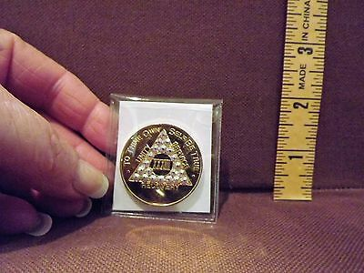 GOLD RECOVERY AA SOBRIETY CHIP XXXIII (33) with AB SWAROVSKI CRYSTALS NEW