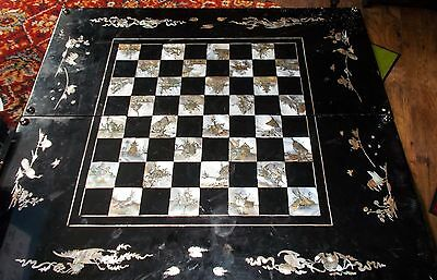 Superb Large  Black Lacquer   Mother Of Pearl Inlaid Chess & Backgammon Board