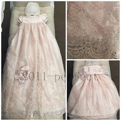 Hot Toddler Baby Baptism Christening Gown Crystal First Communion Dresses Bonnet