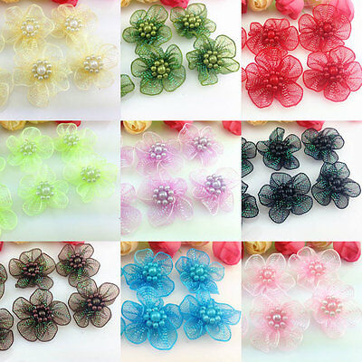 20/50pcs Satin Ribbon Flower with Pearl Bridal Appliques Crafts 15 Colours