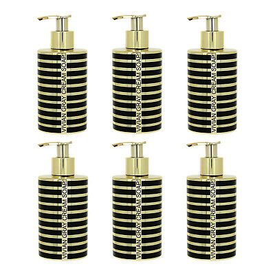 "VIVIAN GRAY 3714 ""Stripes"" Seifenspender mit Creme Seife, gold (6er Pack)"