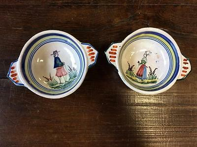 Pair Of Antique French Hand Painted Quimper Ceramic Little Bowls / Dishes