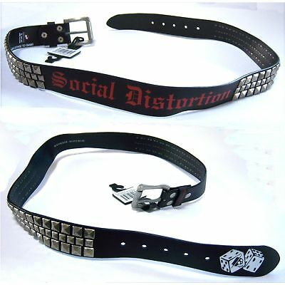 Social Distortion Dice Logo Studded Black Belt Xl X-Large 40-42 New