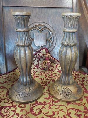 "Pair Carved Wood 12"" Tall Candle Sticks Ideal Present"