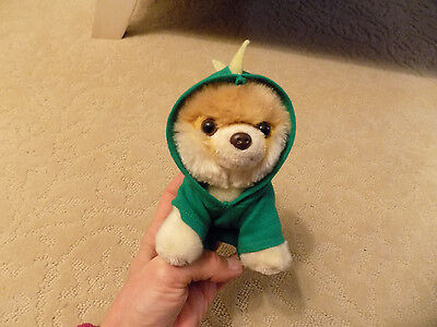 """Itty Bitty Boo in T-Rex Dinosaur costume outfit World's Cutest Dog 5"""" Plush doll"""