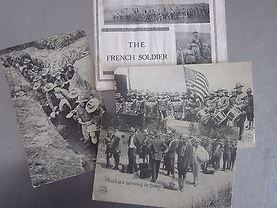 The French Soldier Booklet & 3 Vintage 1918  WWI US Army Postcards Trench War