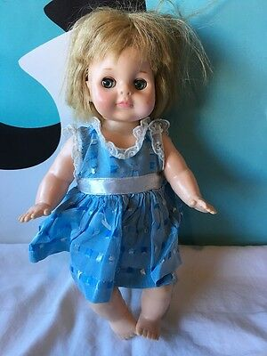 """Vogue Baby Doll 1965 Blonde Green Eyes 12"""" with Blue Dress"""