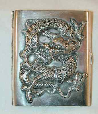 Antique Chinese Export Silver Cigarette Case Heavily Embossed Dragon Monogrammed