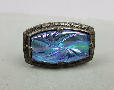 Vintage ring flashy iridescent blue-purple molded glass adjustable fit