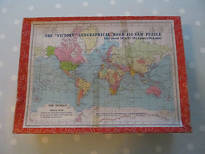 Vintage Wooden Victory Jigsaw Geographical Puzzle Of The World