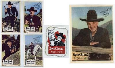 1950s HOPALONG CASSIDY BOND BREAD COLLECTIBLE LOT ~ PHOTO POSTCARDS WINDOW DECAL