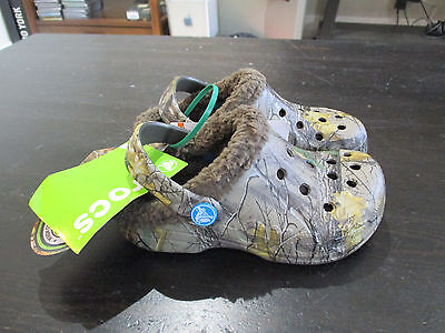 NEW Crocs Real Tree Camo  Fur Line Shoes Size Children 10c 11c Boys Girls Kids