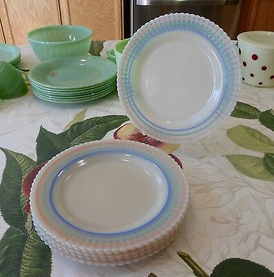 "6 Macbeth Evans Petalware Cremax Pastel Bands Stripes 9"" Dinner Plates"