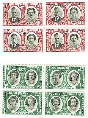 Southern Rhodesia - 1947 - Royal Visit - Complete Set of Two in Blocks of Four