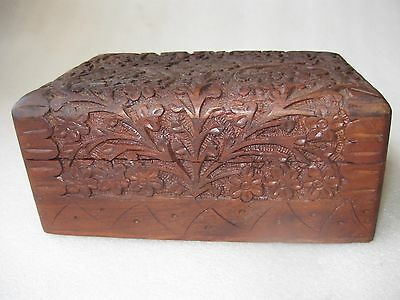 Hand Carved Wood Box Decorative Nepal