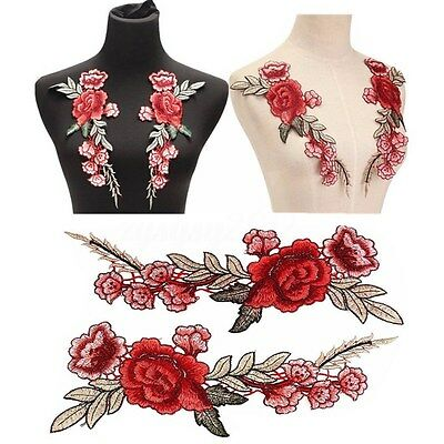 2PCS DIY Rosa Flor Collar Coser Bordado Badge Patch Fabric Applique Distintivo