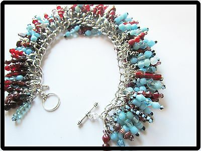Light BLUE & Dark RED Beaded CHARM Bracelet-BLACK Accents & SILVER Accent CHARMS