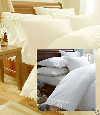 Balmoral Embroidered Pillowcases White or Cream Price per Pair