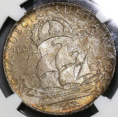 1938 NGC MS 63 SWEDEN Silver 2 Kronor Delaware Settlement Toned Coin (16102506C)