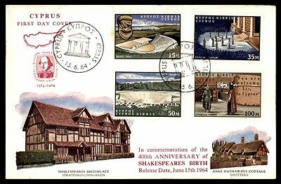 Cyprus 1964 Shakespeare Fdc Cover