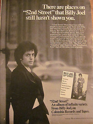 Billy Joel, 52nd Street, Full Page Vintage Promotional Ad