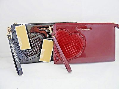 "Michael Kors Daniela ""Hearts"" Large Zip Clutch Wristlet Mirror Leather 2 Colors"