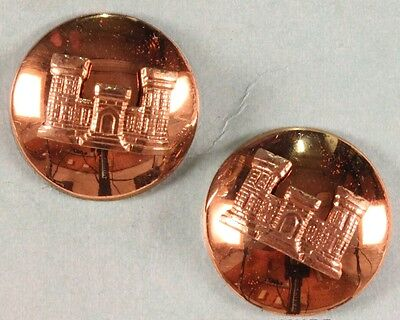 Army Enlisted Collar Pin:  Engineer- domed pair