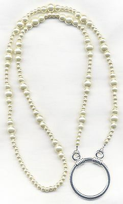 Chunky IVORY PEARLS Eyeglass~Glasses Holder Chain LA Necklace~Ring~XXL LOOP
