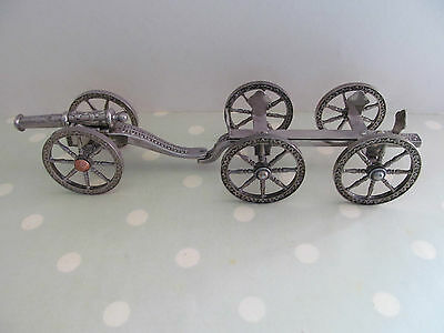 Vintage Model Cannon Carriage And Ammunition Trailer Silver Plated ?