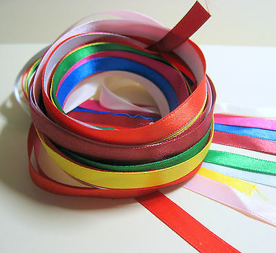 20 x 1 Metre lengths of mixed colours 10mm wide double sided Satin Ribbon