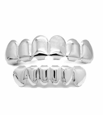 Silver Grillz Top & Smaller Bottom teeth set Bling  grills hip hop gangsta tooth
