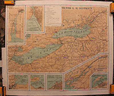 Original 1903 Lighthouses of Lake Erie Ontario Tenth Lighthouse District Map