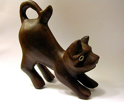 Hand-Carved  CAT Figurine, handmade wood figure, statue. Unique! Cute!