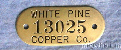 Vintage Brass Mining Property Tag: WHITE PINE COPPER CO; Michigan; Tool Tag