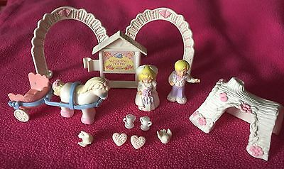 Lot Of Vintage Fisher Price Precious Places Wedding Groom Bride Horse Carriage