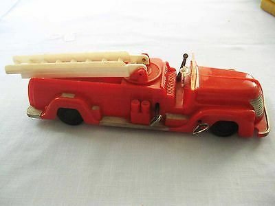 Saunders Fire Engine Truck Plastic Double Windup Siren Toy Works