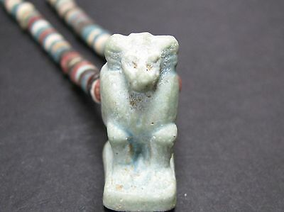 NILE  Ancient Egyptian Thoth Amulet Mummy Bead Necklace ca 1000 BC