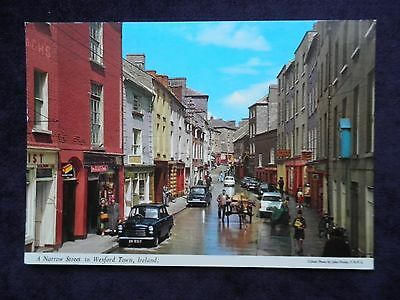 Vintage John Hinde Irish Postcard Of A Narrow Street In Wexford Town, Ireland